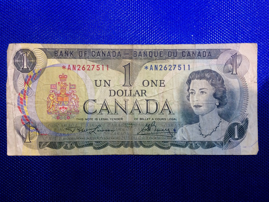 1973 Bank of Canada 1 Dollar Replacement Note Serial: *AN2627511