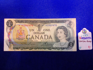 1973 Bank of Canada 1 Dollar Replacement Note Serial: *IA2307870