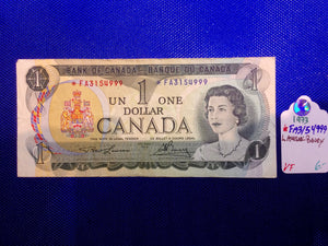 1973 Bank of Canada 1 Dollar Replacement Note Serial: *FA3154999