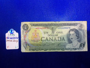 1973 Bank of Canada 1 Dollar Replacement Note Serial: *MC6658878