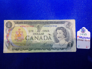 1973 Bank of Canada 1 Dollar Replacement Note Serial: *MM6731940