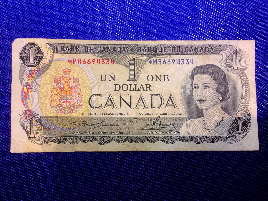 1973 Bank of Canada 1 Dollar Replacement Note Serial: *MR6694334