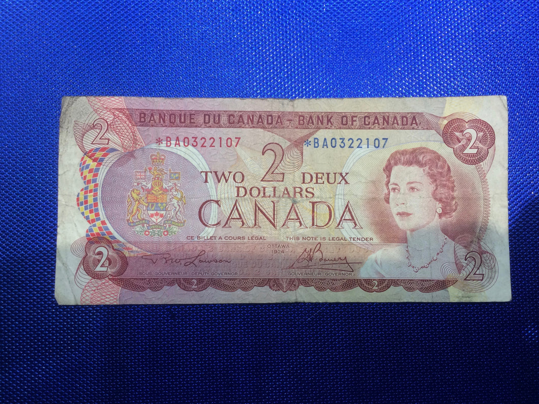 1974 Bank of Canada Two Dollars Replacement Note Serial: *BA0322107