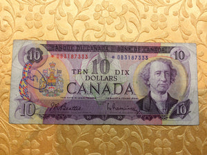 1971 Bank of canada 10 Dollars Beattie Raminsky Replacement Note Serial: *DB3187333