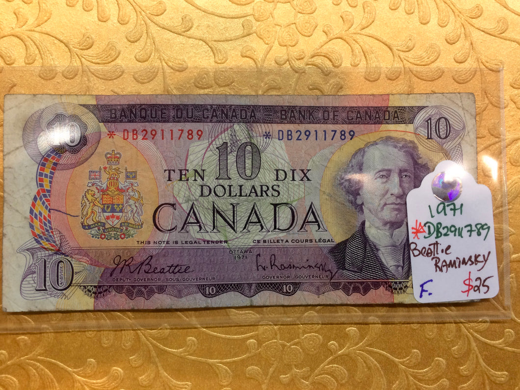 1971 Bank of canada 10 Dollars Beattie Raminsky Replacement Note Serial: *DB2911789