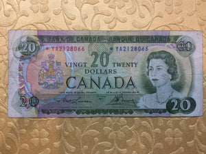 1969 Bank of canada 20 Dollars Lawson Bouey Replacement Note Serial: *YA2128066