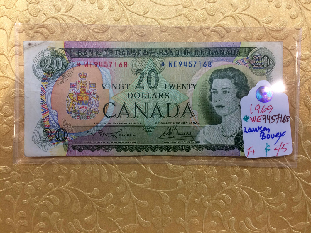 1969 Bank of canada 20 Dollars Lawson Bouey Replacement Note Serial: *WE9457168