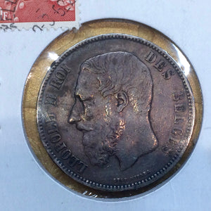 1873 Belgium 5 Francs Silver KM#24 - Trade your coins