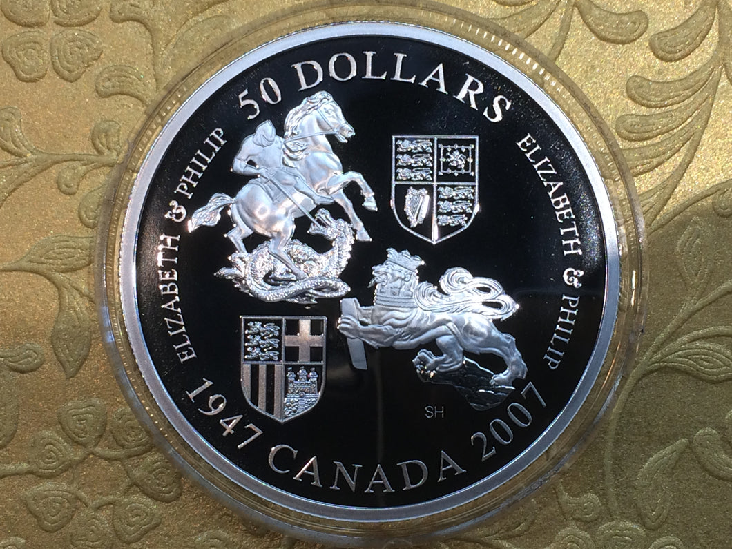 2007-1947 Canada 50 dollars Proof coin-Elizabeth & Philip-60 th Wedding Anniversary