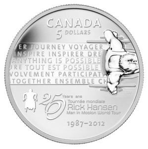 2012 Canada Fine Silver Five Dollars-Rick Hansen Man-In-Motion Tour, 25th Anniversary