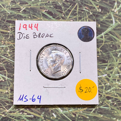 1944 CANADA Steel George VI MS-64-Die Break