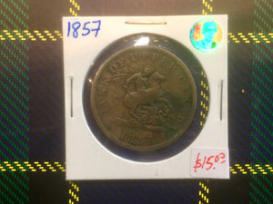 1857 Bank Upper canada One Penny