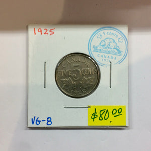 1925 Canada 5 Cents-King Georges V Key-date