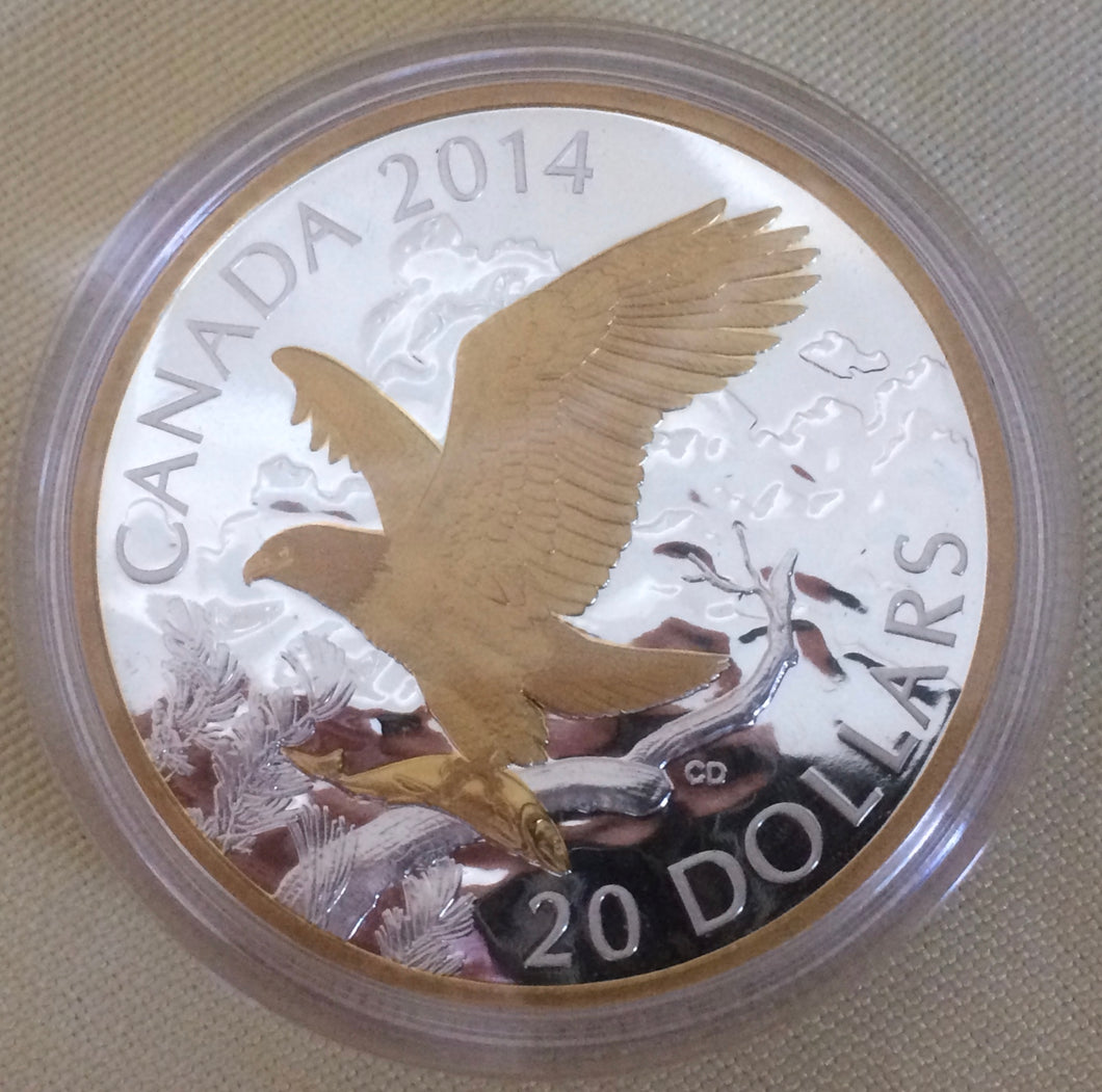 2014 Canada 20 Dollars Fine Silver Coin, Perched Bald Eagle
