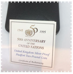 1945 1995 Two Pounds 50th Anniversary of the United Nations Silver Proof Piedfort