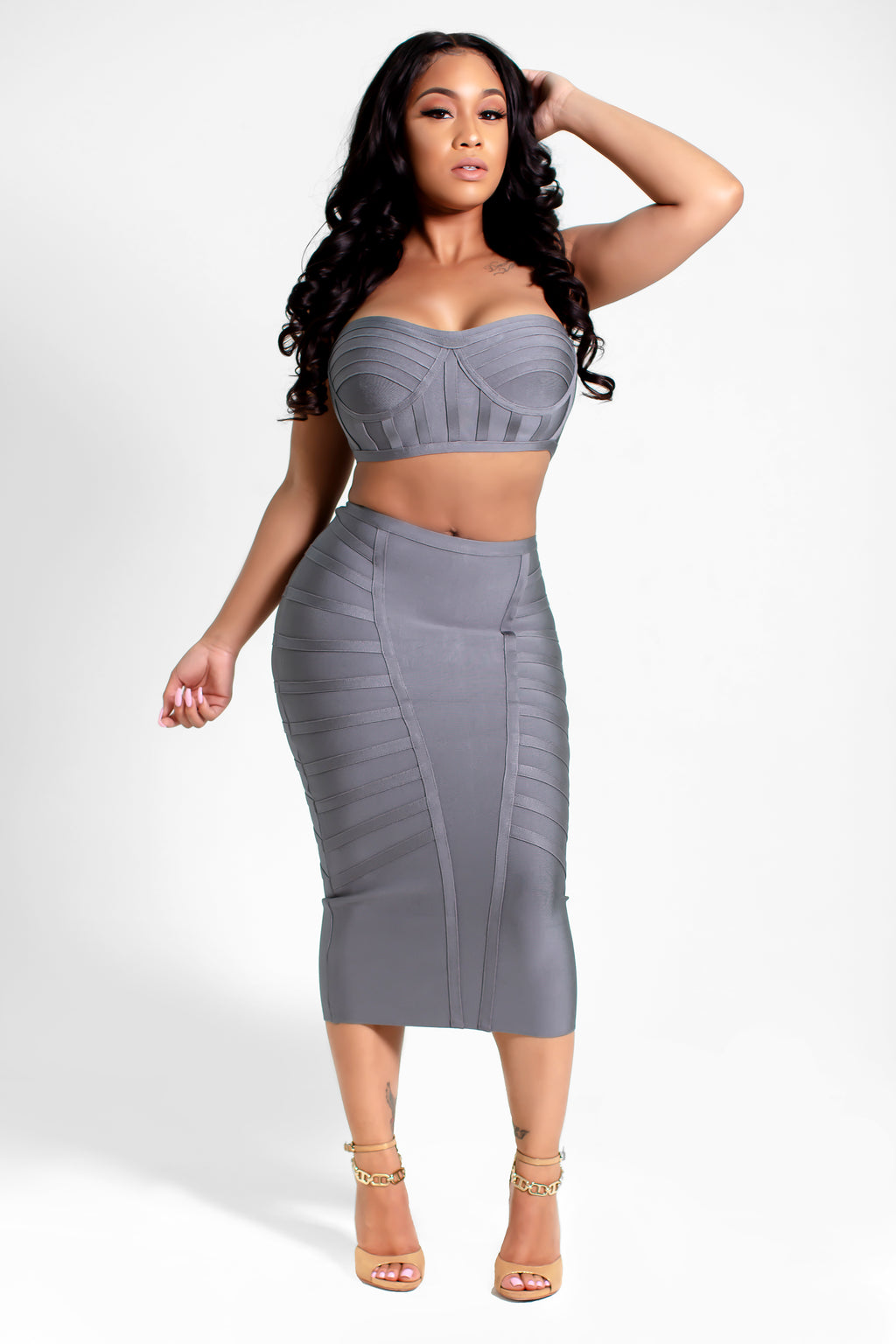 Amie 2 pc Strapless Crop Top with Pencil Skirt