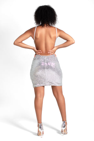 China Silver Sequin Backless Mini