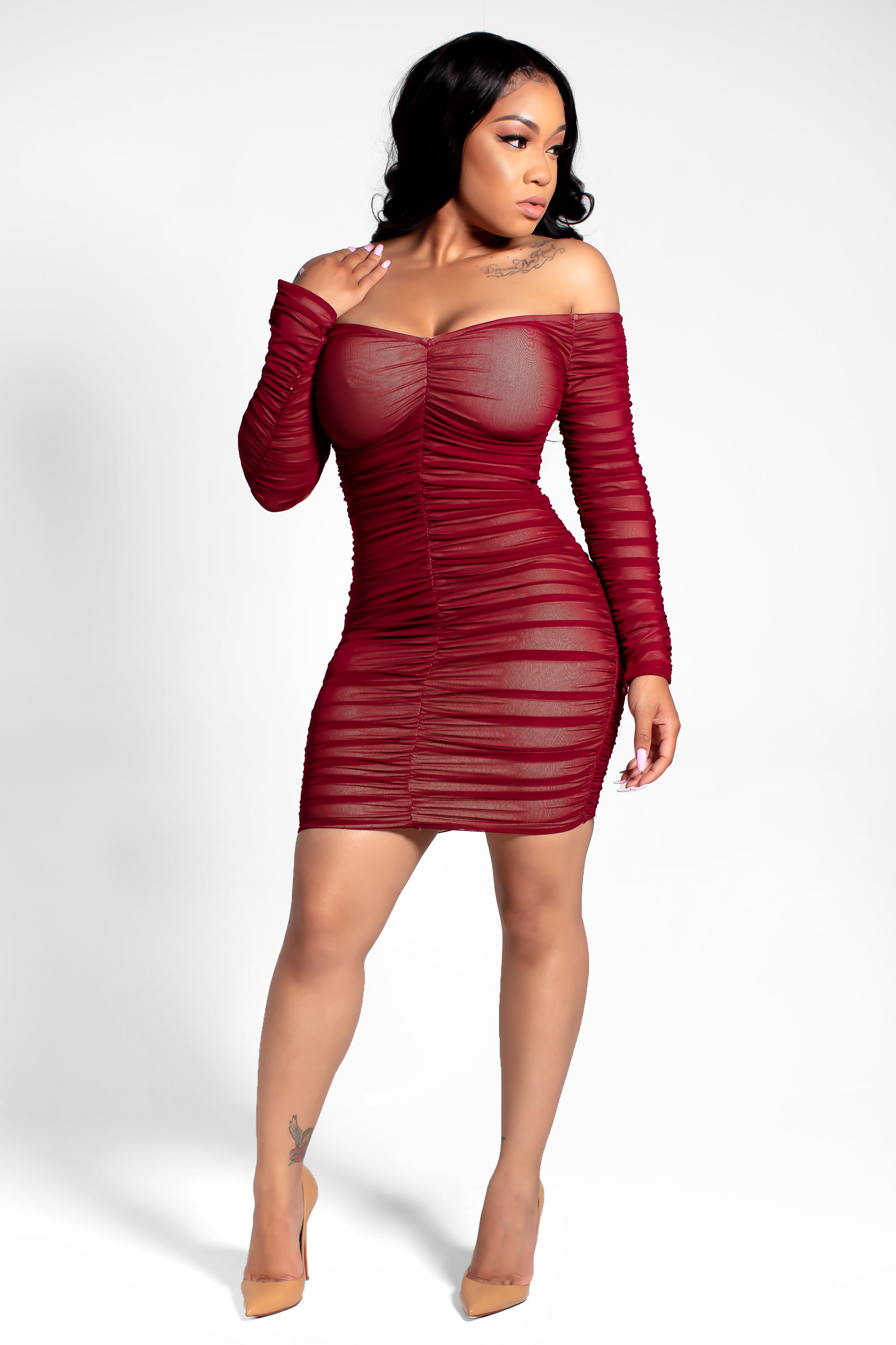 aaf397ea6a93 Yonce Off Shoulder Long Sleeve Ruched Mesh Bodycon Dress – Vanity ...