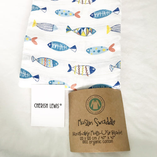 100% Cotton  Baby Muslin swaddle (A lots fish) No. 12