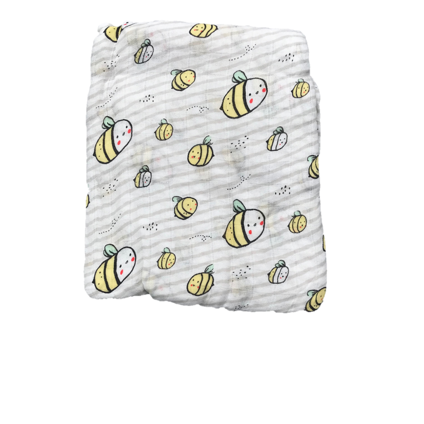 Cotton & Bamboo Baby Muslin swaddle (Baby Bee) No. 34