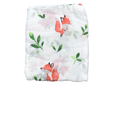 Cotton & Bamboo Baby Muslin swaddle (Baby fox with leaf) No. 36