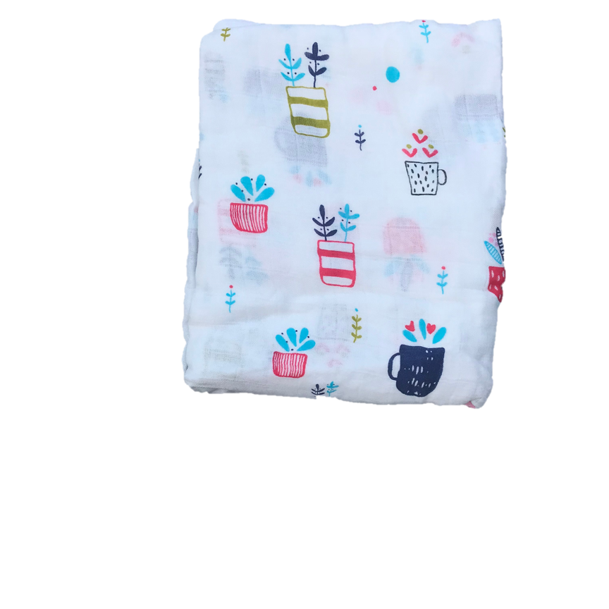 Cotton & Bamboo Baby Muslin swaddle (flower pot) No. 39