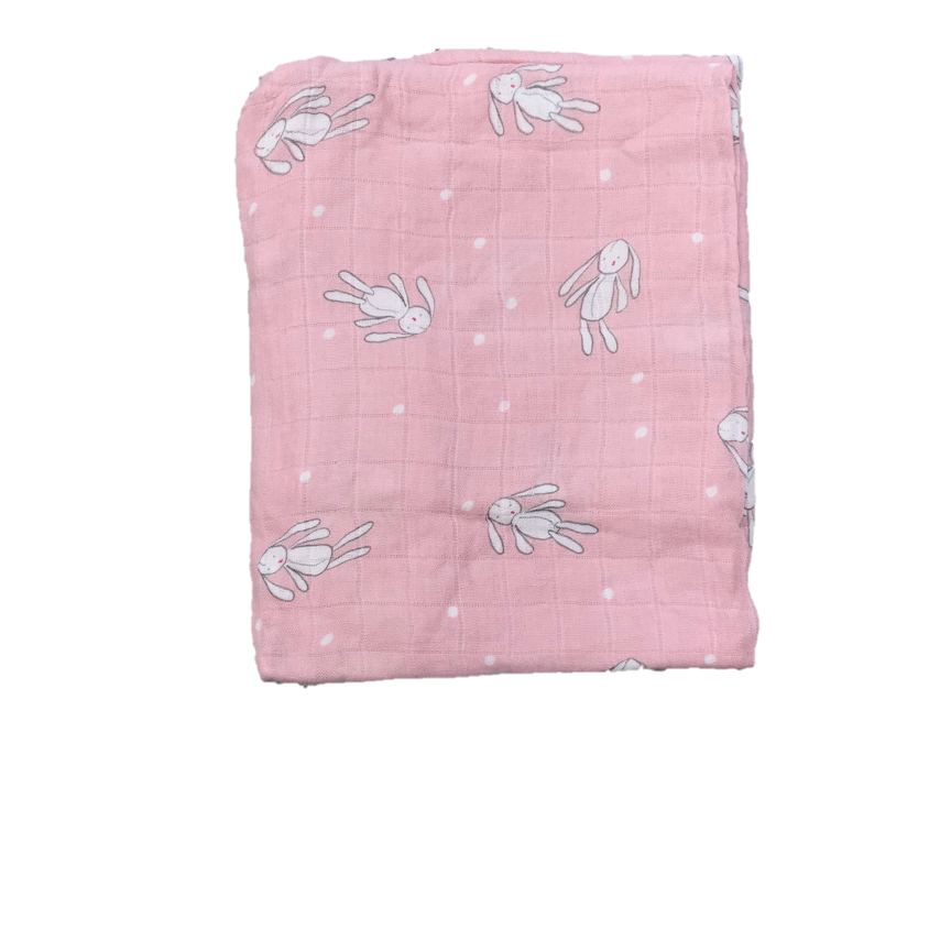 Cotton & Bamboo Baby Muslin swaddle (pink bunny toy) No. 40