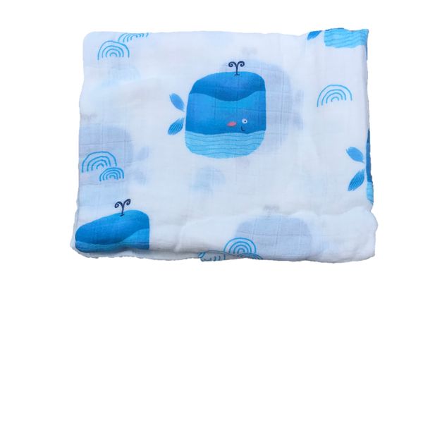 Cotton & Bamboo Baby Muslin swaddle (blue whale) No. 41