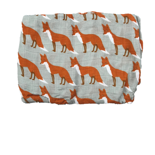 Cotton & Bamboo Baby Muslin swaddle (red fox grey) No. 42