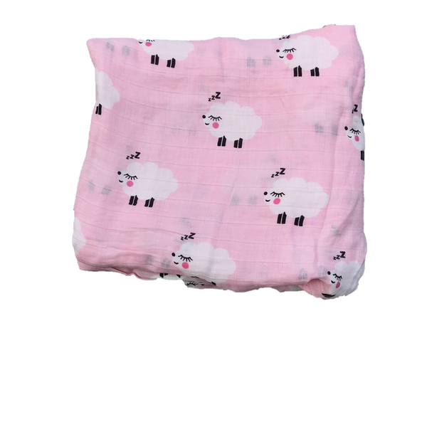 Cotton & Bamboo Baby Muslin swaddle (pink bunny toy) No. 44