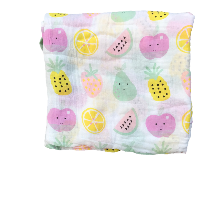 100% Cotton  Baby Muslin swaddle (Apple strawberry) No. 45