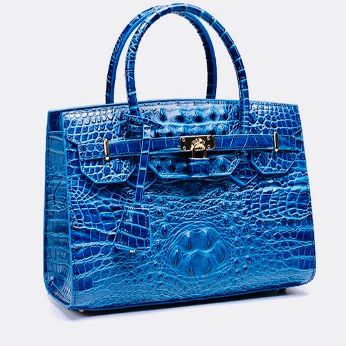 Crocodile Leather Bag(Blue)