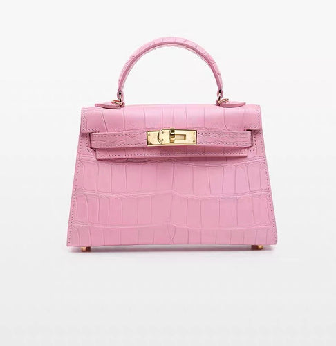 Mini Kelly style Crocodile Leather Bag(Pink)