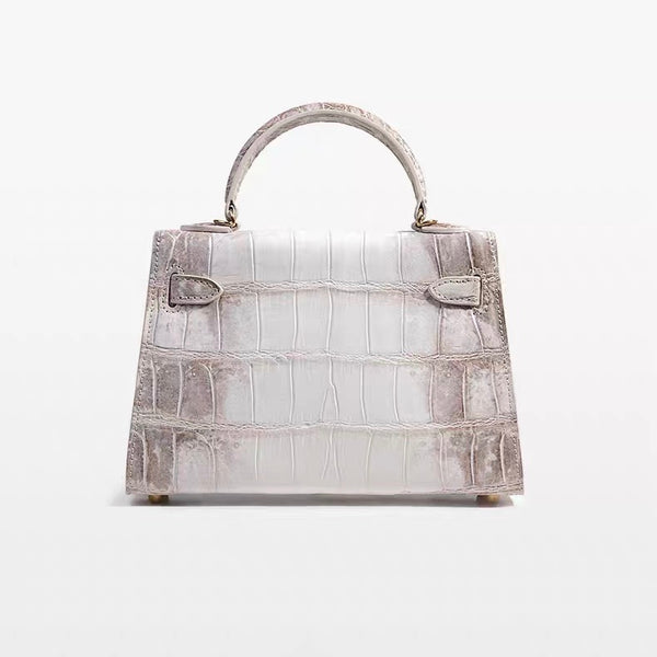Mini Kelly style Crocodile Leather Bag(Himalayan)