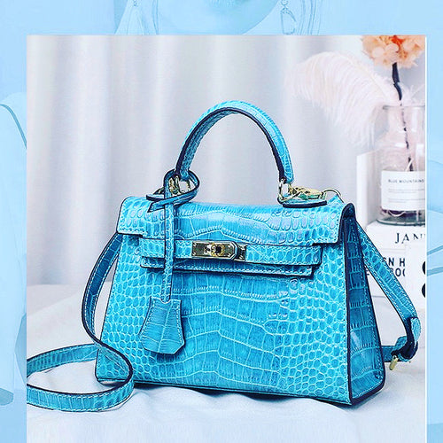 Mini Kelly style Crocodile effect real Leather Bag(Blue)
