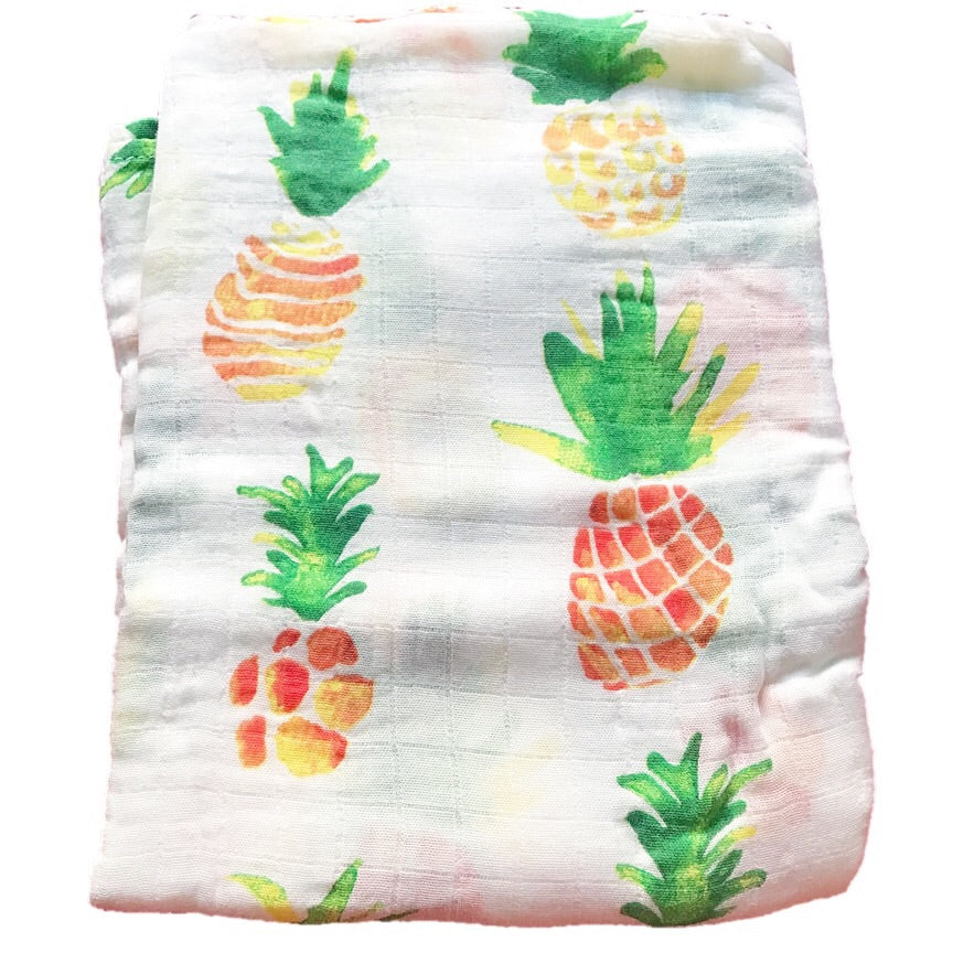 Cotton & Bamboo Baby Muslin swaddle(pineapple) No.20