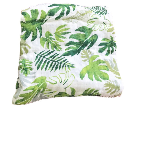 Cotton & Bamboo Baby Muslin swaddle(Monstera leaf) No.24