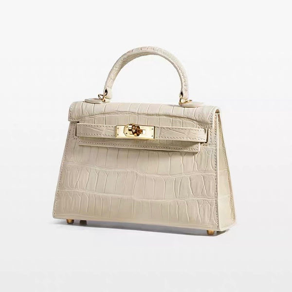 Mini Kelly style Crocodile Leather Bag(White)
