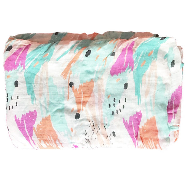 Cotton & Bamboo Baby Muslin swaddle(colorful painting) No.26