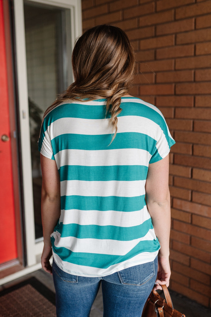Teal My Stripes Top