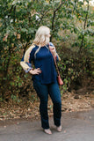 Navy and Floral Balloon Sleeve Top