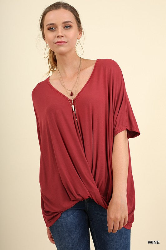 American Girl Knotted Surplice Top in Wine