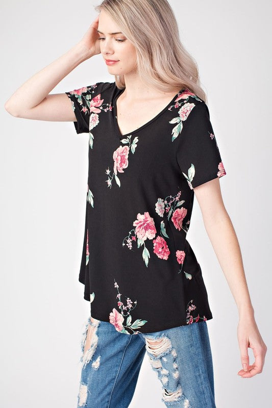 Just a Girl - Black Floral Top