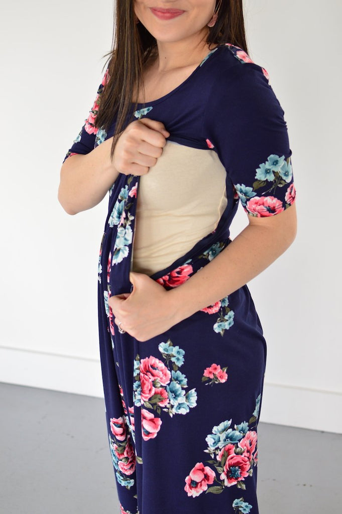 Navy Floral Maxi with Nursing Option