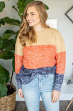 Color Block Knit Sweater | Navy