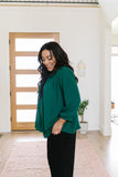 Pleated Green Blouse