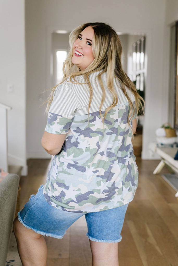 Camo Stars & Stripes Forever Top