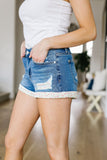 Flower Patch Destroyed Denim Shorts