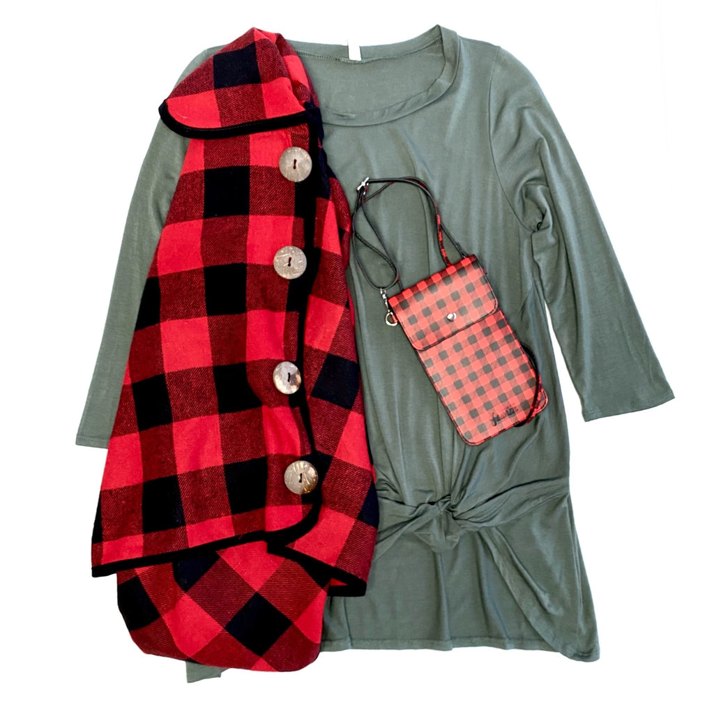 Warm Your Days Poncho in Red