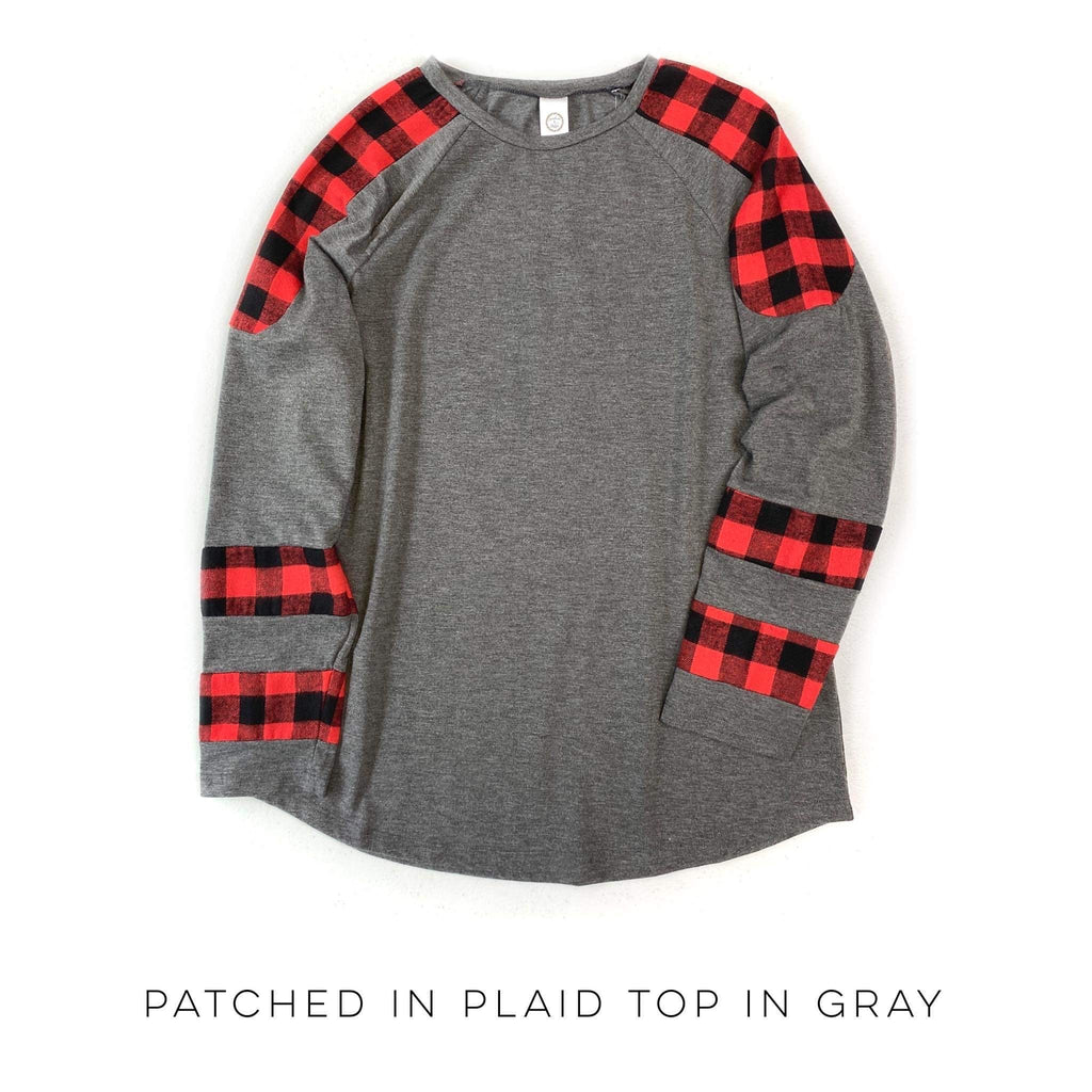 Patched in Plaid Top in Gray